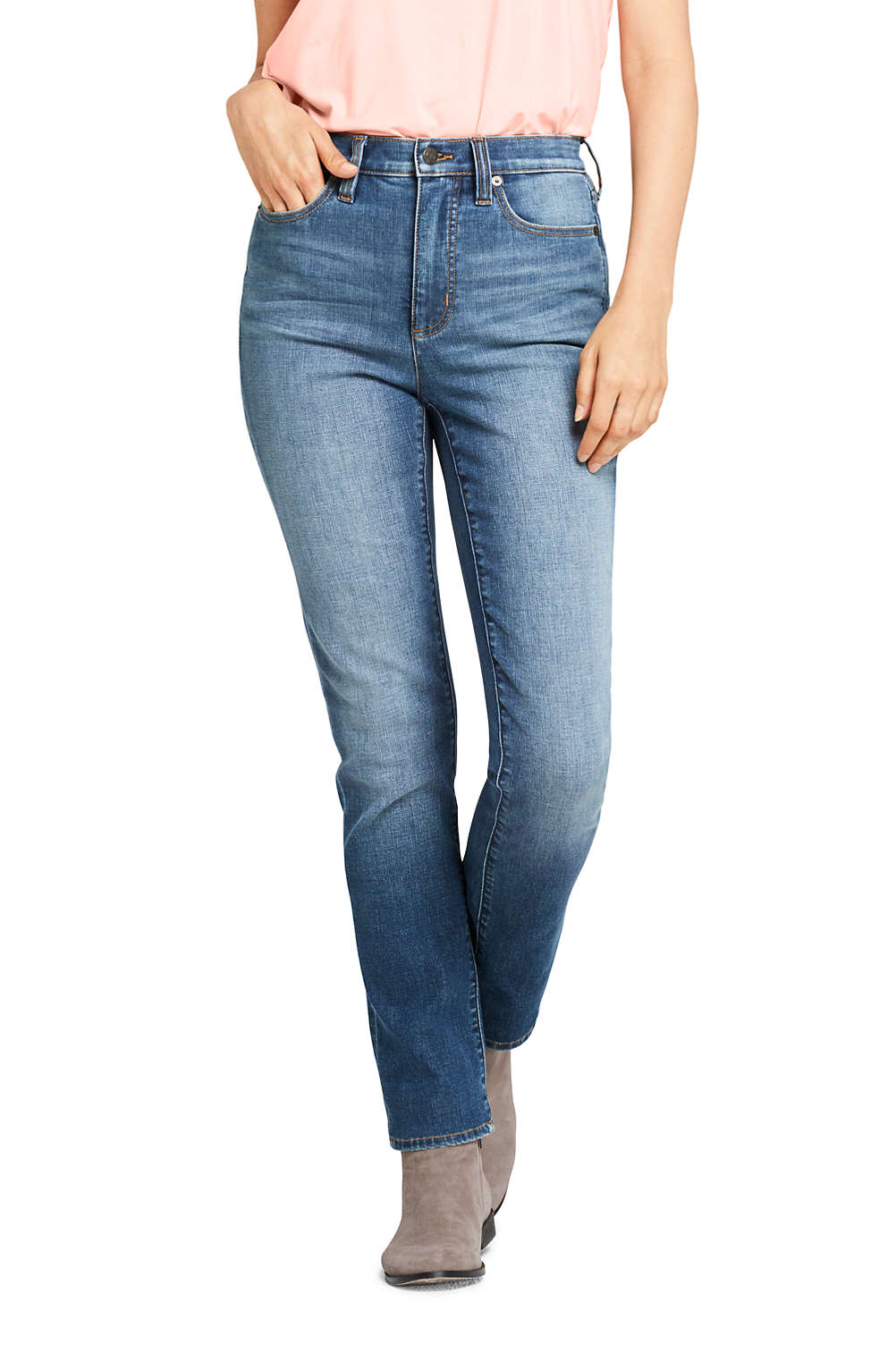 63dee51a9 Women's Slimming High Rise Straight Leg Jeans - Blue from Lands' End