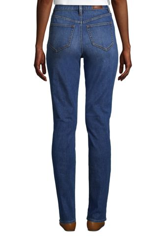 Women's Tall Slimming Compression High Rise Straight Leg Blue Jeans