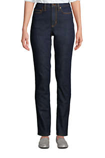 Women's Slimming Compression High Rise Straight Leg Blue Jeans , Front