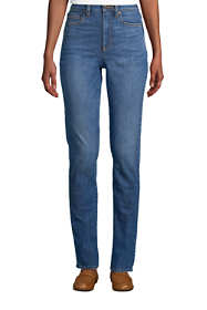 Women's Petite Slimming Compression High Rise Straight Leg Blue Jeans