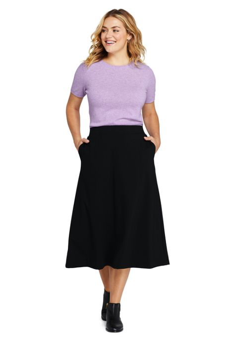 Women's Plus Size Ponte Knit Midi Skirt