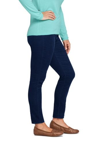 Women's Plus Size High Rise Pull On Corduroy Skinny Pants