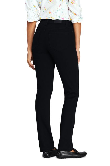 Women's Tall Mid Rise Straight Leg Jeans - Black