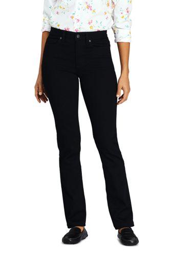 Schwarze Straight Fit Jeans Mid Waist für Damen in Petite Größe
