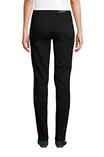 Women's Petite Mid Rise Straight Leg Jeans - Black, Back