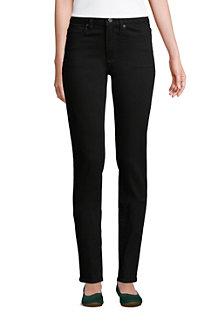 Schwarze Straight Fit Jeans Mid Waist für Damen