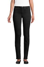 Women's Petite Mid Rise Straight Leg Jeans - Black