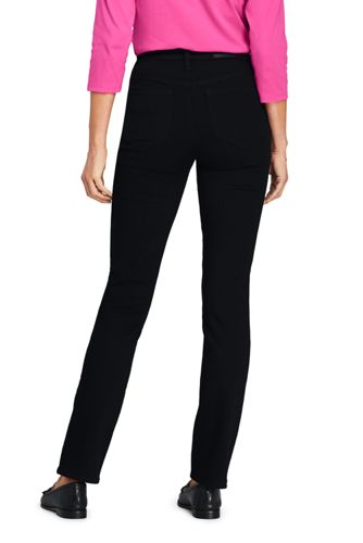 Women's Petite Slimming Compression High Rise Straight Leg Jeans - Black