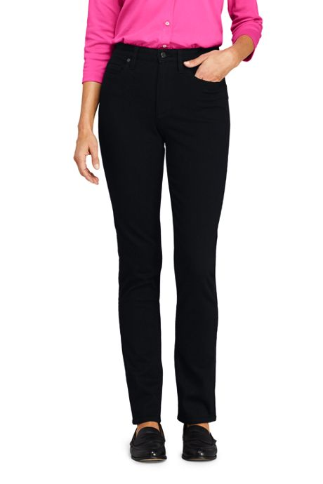 Women's Slimming Compression High Rise Straight Leg Jeans - Black