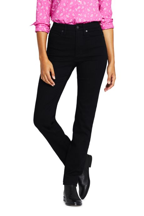Women's Slimming High Rise Straight Leg Jeans - Black