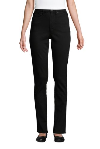 Women's Petite Slimming High Waisted Straight Leg Black Jeans