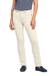 Women's Tall Mid Rise Straight Leg Jeans - White, Front