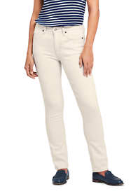 Women's Mid Rise Straight Leg Jeans - Natural Off White