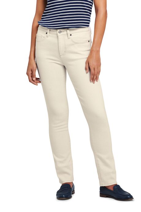 Women's Petite Mid Rise Straight Leg Jeans - Natural Off White