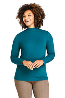 Women's Plus Size Ribbed Long Sleeve Mock Turtleneck, Front