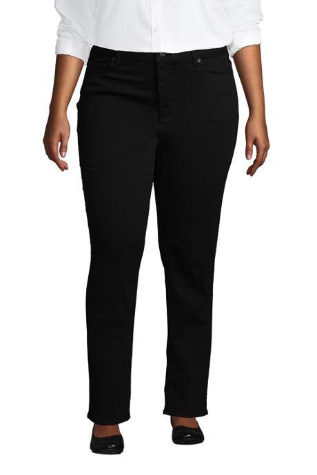 Women's Plus Size Mid Rise Straight Leg Jeans - Black