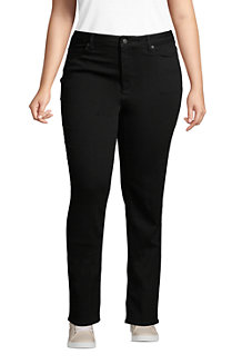 Women's Mid Rise Straight Leg Black Jeans