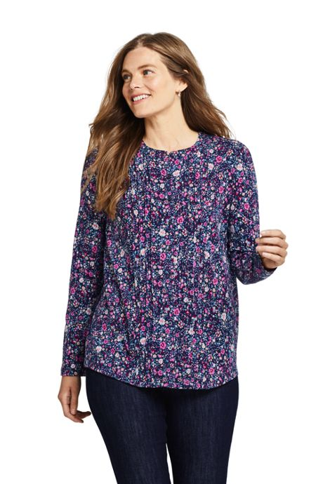 Women's Petite Pintuck Button Down Long Sleeve Tunic Top Floral
