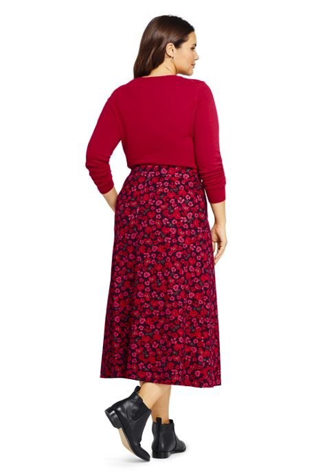 Women's Plus Size Print Ponte Knit Midi Skirt