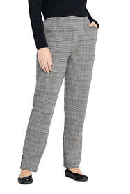 Women's Plus Size Sport Knit High Rise Elastic Waist Pull On Pant - Print