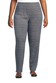 Women's Plus Size Sport Knit High Rise Elastic Waist Pull On Pant - Print