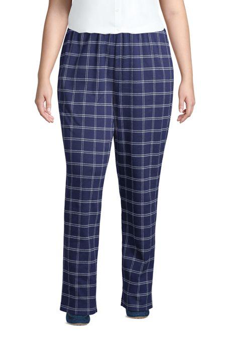 Women's Plus Size Petite Sport Knit High Rise Elastic Waist Pull On Pant - Print