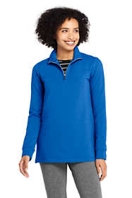 Women's Petite Serious Sweats Quarter Zip Long Sleeve Tunic Sweatshirt