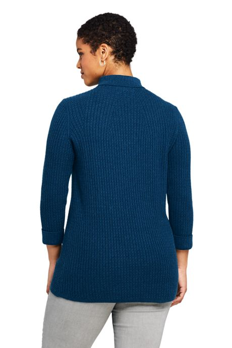 Women's Plus Size Cotton Blend 3/4 Sleeve Mock Neck Cable Tunic Sweater