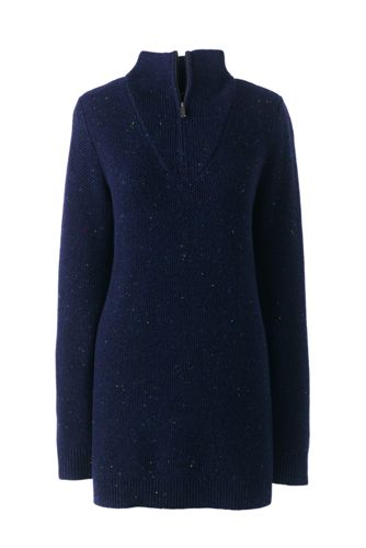 Women's Lofty Blend Half-zip Textured Tunic Jumper