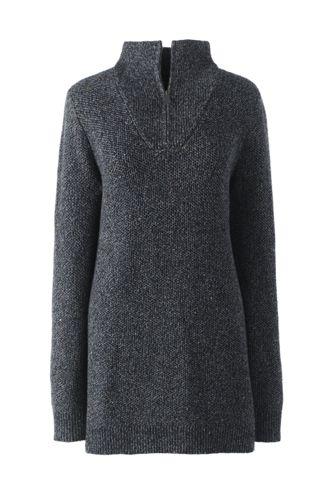 Women's Petite Lofty Blend Half-zip Textured Tunic Jumper