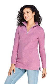 Women's Lofty Blend Half-zip Textured Tunic Jumper
