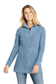 Women's Petite Cotton Blend Quarter Zip Mock Neck Tunic Sweater