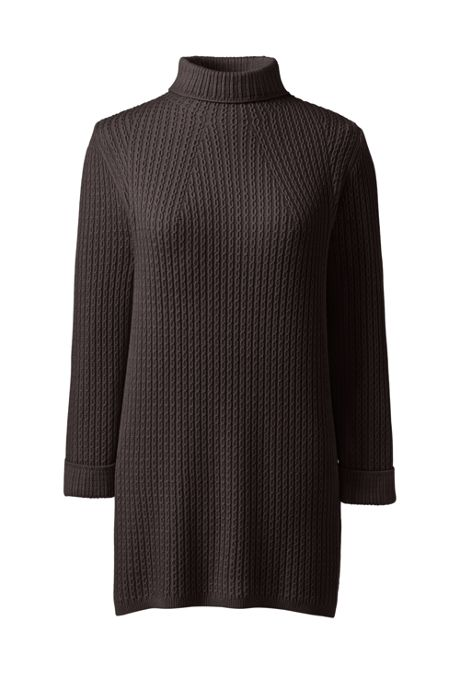 Women's Cotton Blend 3/4 Sleeve Mock Neck Cable Tunic Sweater