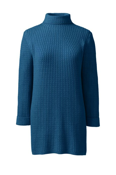 Women's Tall Cotton Blend 3/4 Sleeve Mock Neck Cable Tunic Sweater