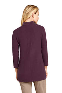 Women's Cotton Blend 3/4 Sleeve Mock Neck Cable Tunic Sweater, Back