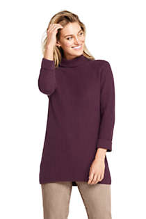 Women's Cotton Blend 3/4 Sleeve Mock Neck Cable Tunic Sweater, Front