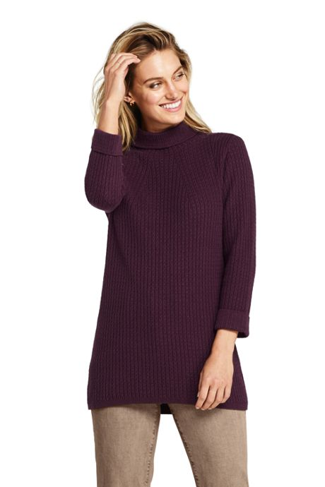 Women's Petite Cotton Blend 3/4 Sleeve Mock Neck Cable Tunic Sweater