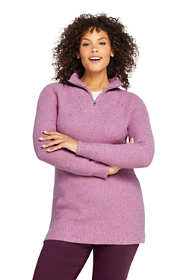 Women's Plus Size Cotton Blend Quarter Zip Mock Neck Tunic Sweater