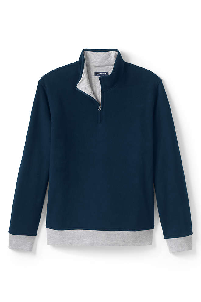 Men's Tall Quilted Reversible Bedford Rib Quarter Zip Sweater, Front