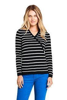 Women's Stripe Cashmere V-neck Wrap Jumper