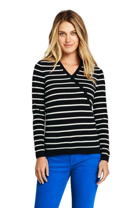 Women's Petite Cashmere V-neck Wrap Pattern Sweater