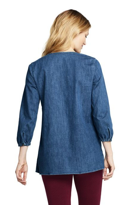 Women's 3/4 Sleeve Denim Tunic