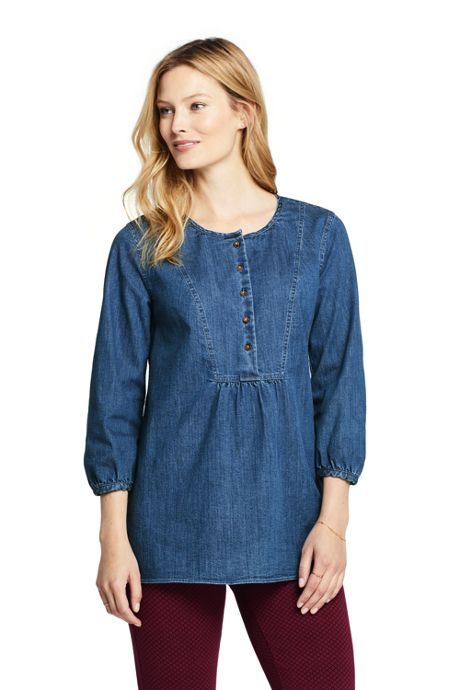 Women's Petite 3/4 Sleeve Denim Tunic