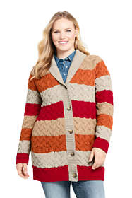 Women's Plus Size Cotton Cable Drifter Shawl Cardigan Sweater - Stripe