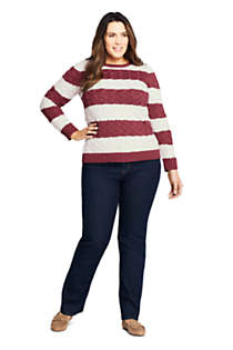 Women's Plus Size Cotton Cable Drifter Crewneck Sweater - Stripe, Unknown