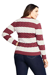 Women's Plus Size Cotton Cable Drifter Crewneck Sweater - Stripe, Back