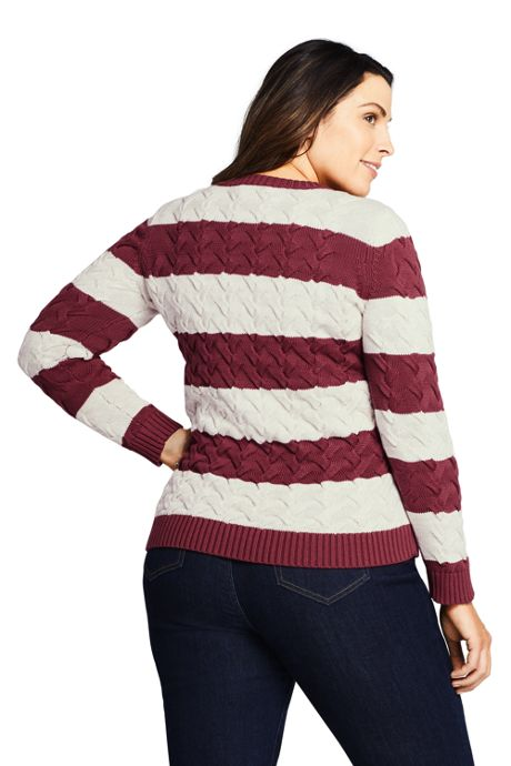 Women's Plus Size Drifter Cotton Crew Neck Stripe Sweater