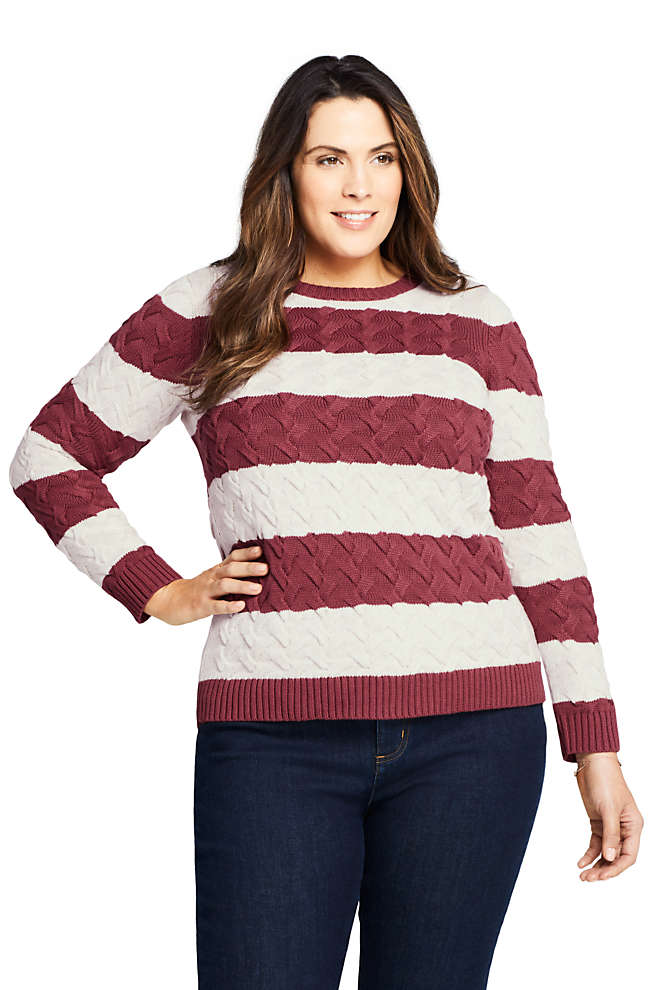 Women's Plus Size Cotton Cable Drifter Crewneck Sweater - Stripe, Front