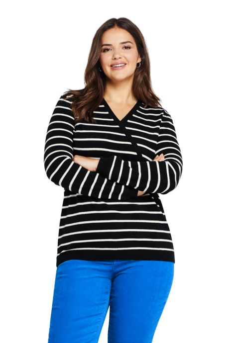 Women's Plus Size Cashmere V-neck Wrap Sweater - Print