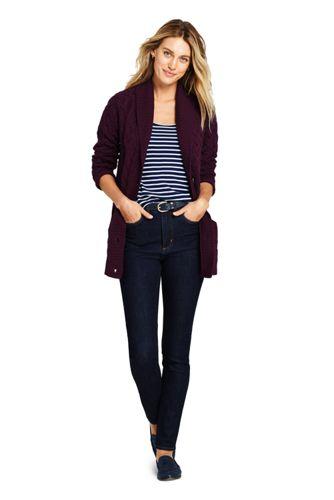 Women's Petite Cotton Cable Drifter Shawl Cardigan Sweater